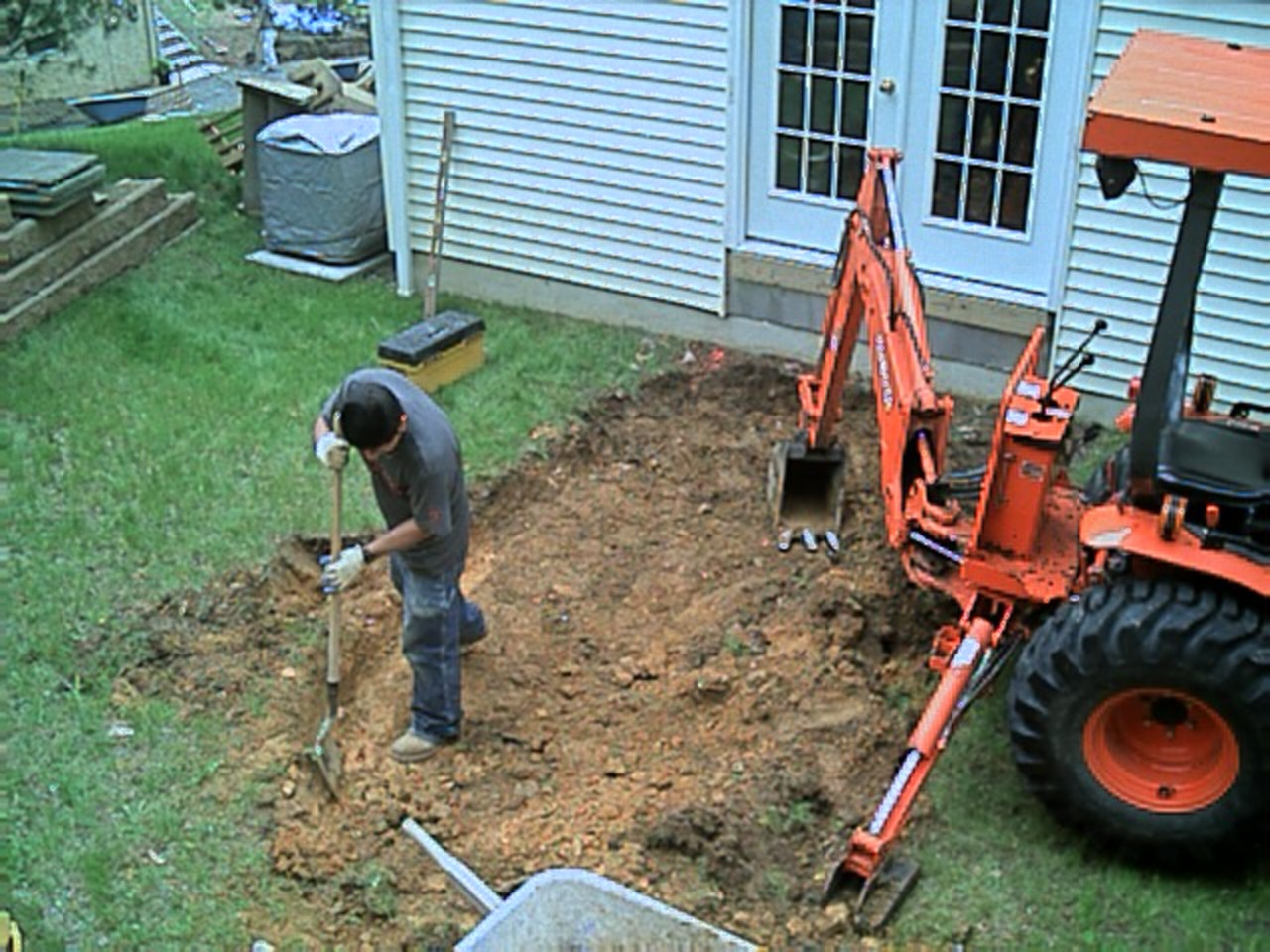 Since the machine broke down, we had to do some digging the old fashioned way.