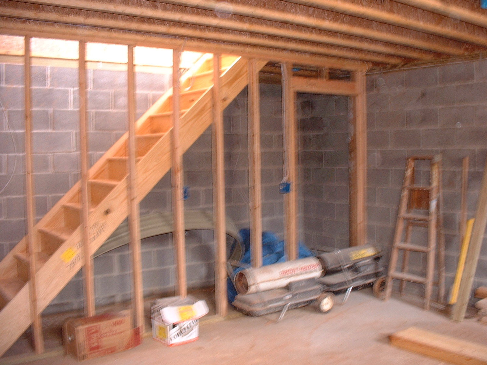 The stairs came in and are installed. This picture shows the framing from the basement.