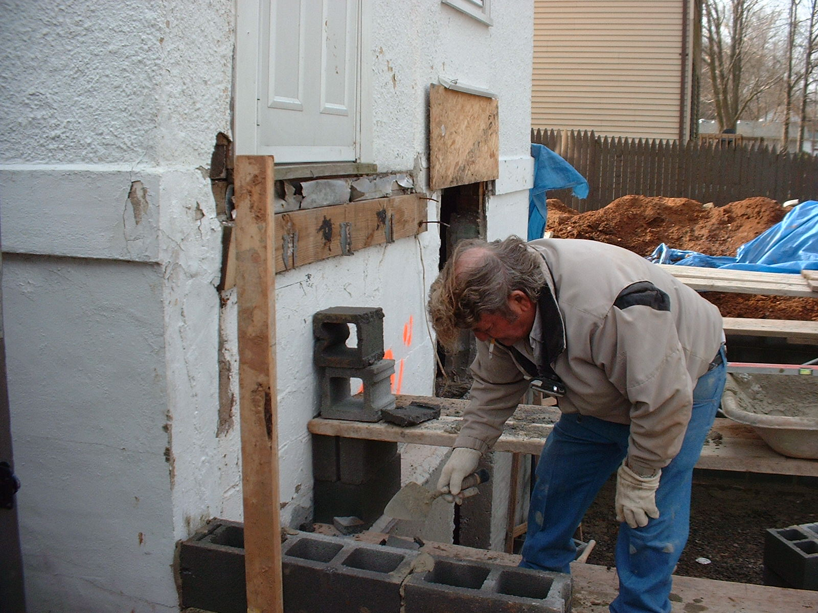 This is my Dad laying block. He and his men did the block work.