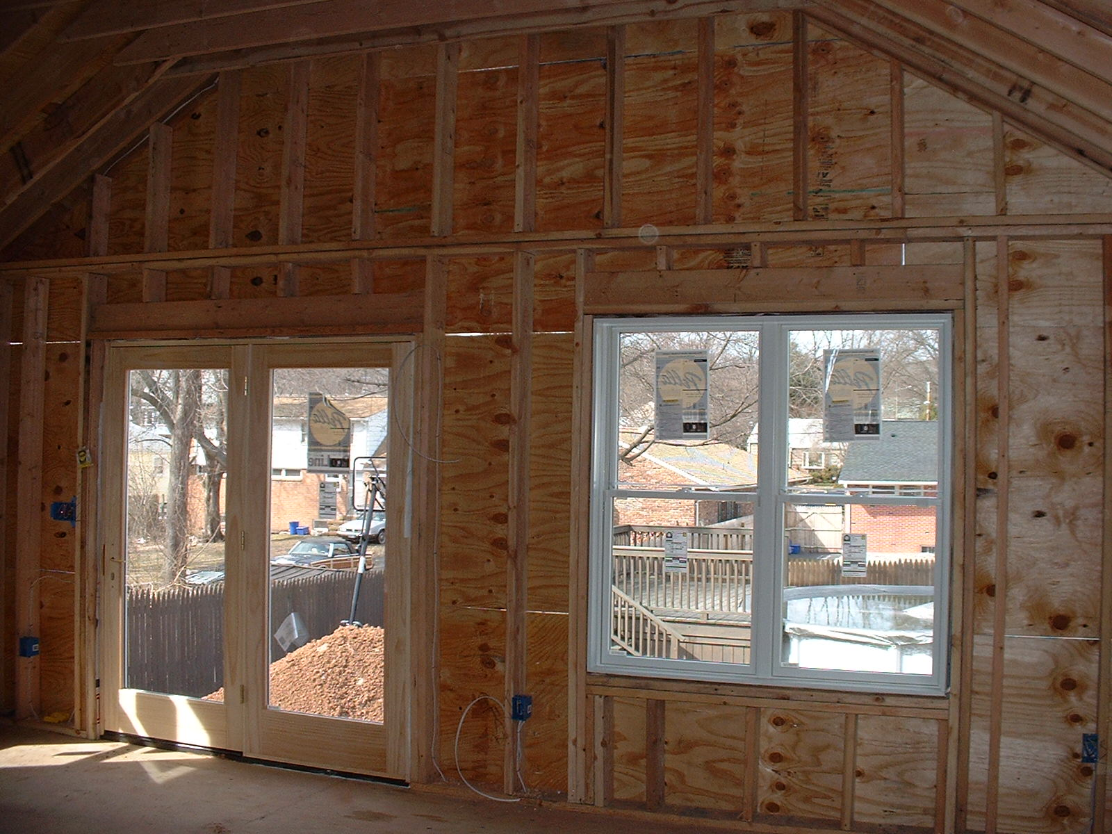 The inside view of the double window and the french door.