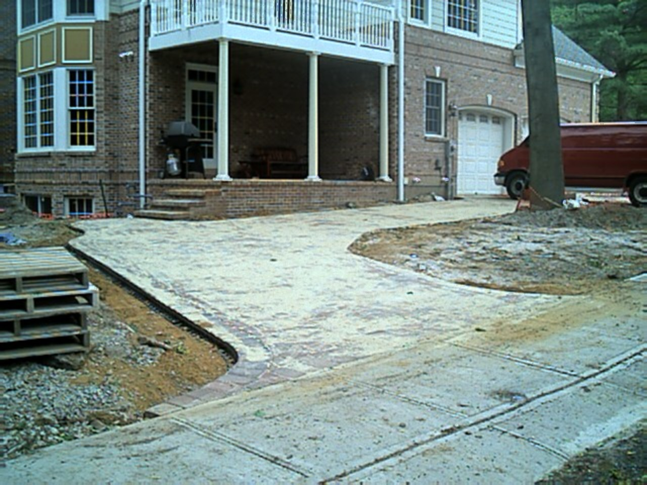 This is a view from the other entrance, the sand is being swept into the pavers.