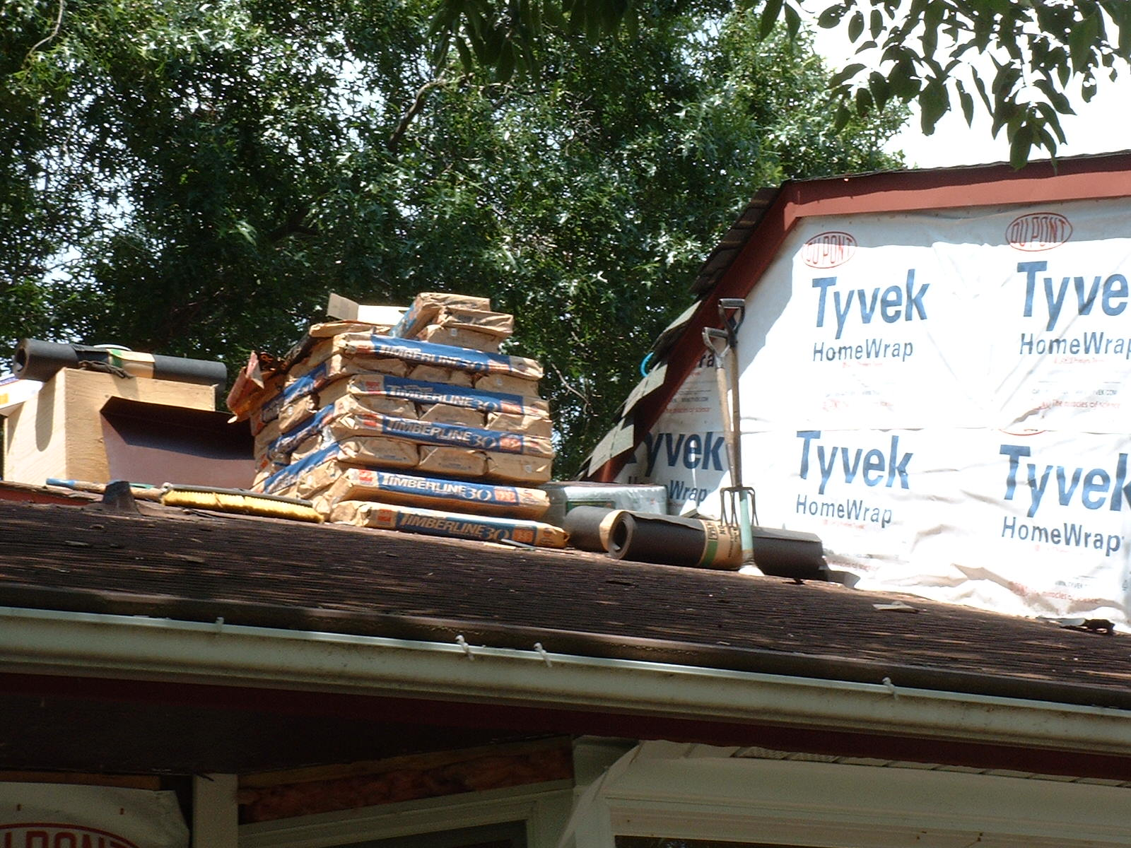 The shingles stand ready to be installed.
