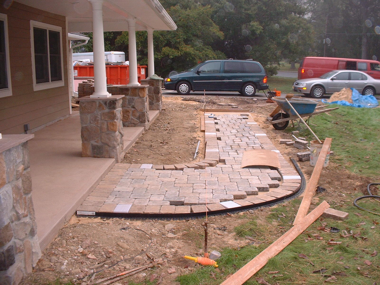 The pavers are started. The wire for the light ran for over two hundred feet in the transformer.
