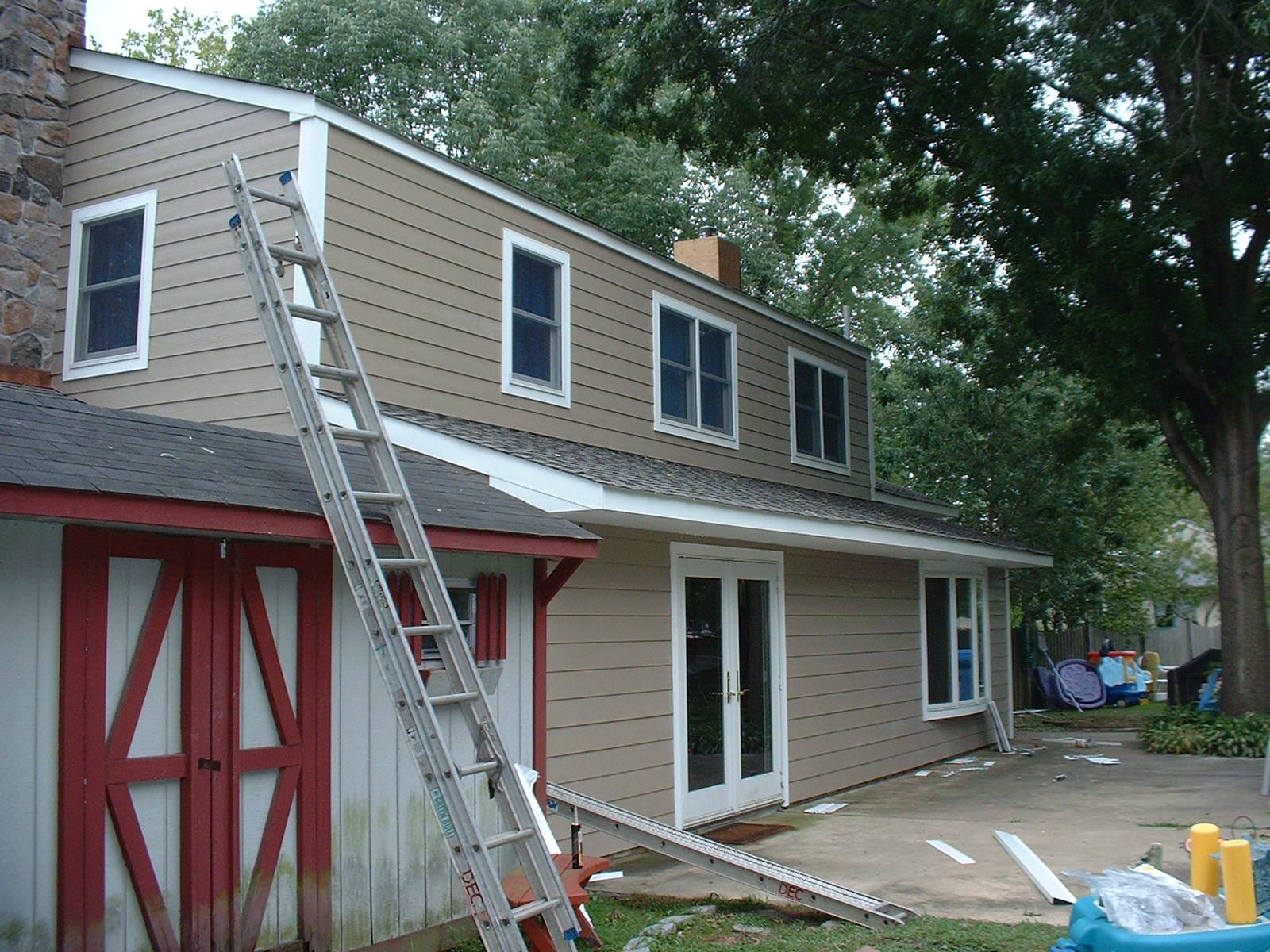 The siding on the rear of the house is just about finished.