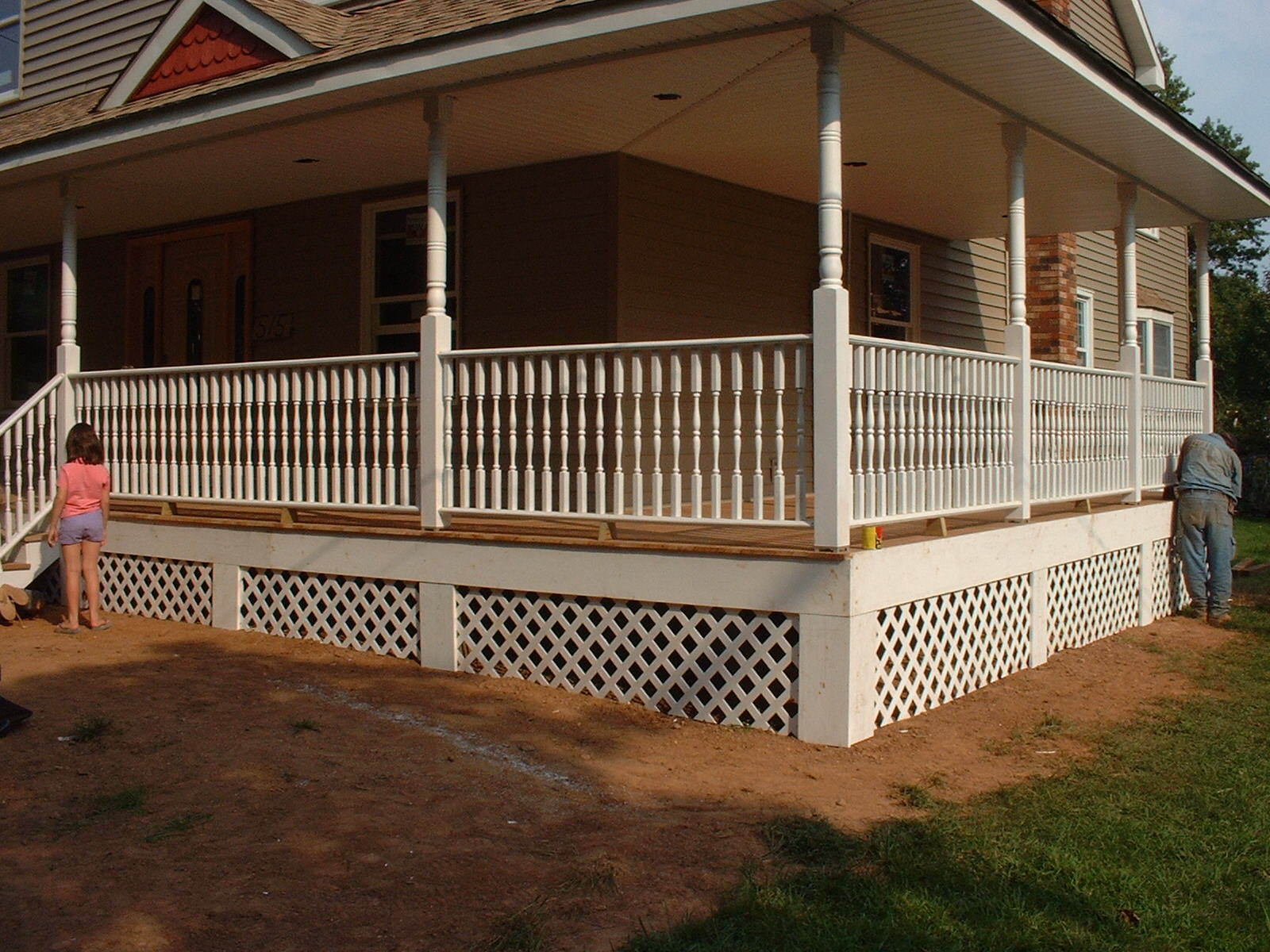 The lattace and pine trim really finish off the porch.