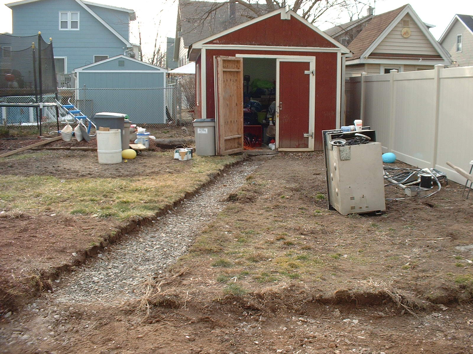 This is after we took out the old concrete walkway to the shed.