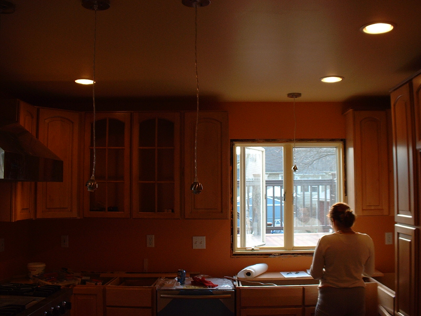 Here is Mrs. Reyes dreaming about her first cooked meal in her new kitchen.