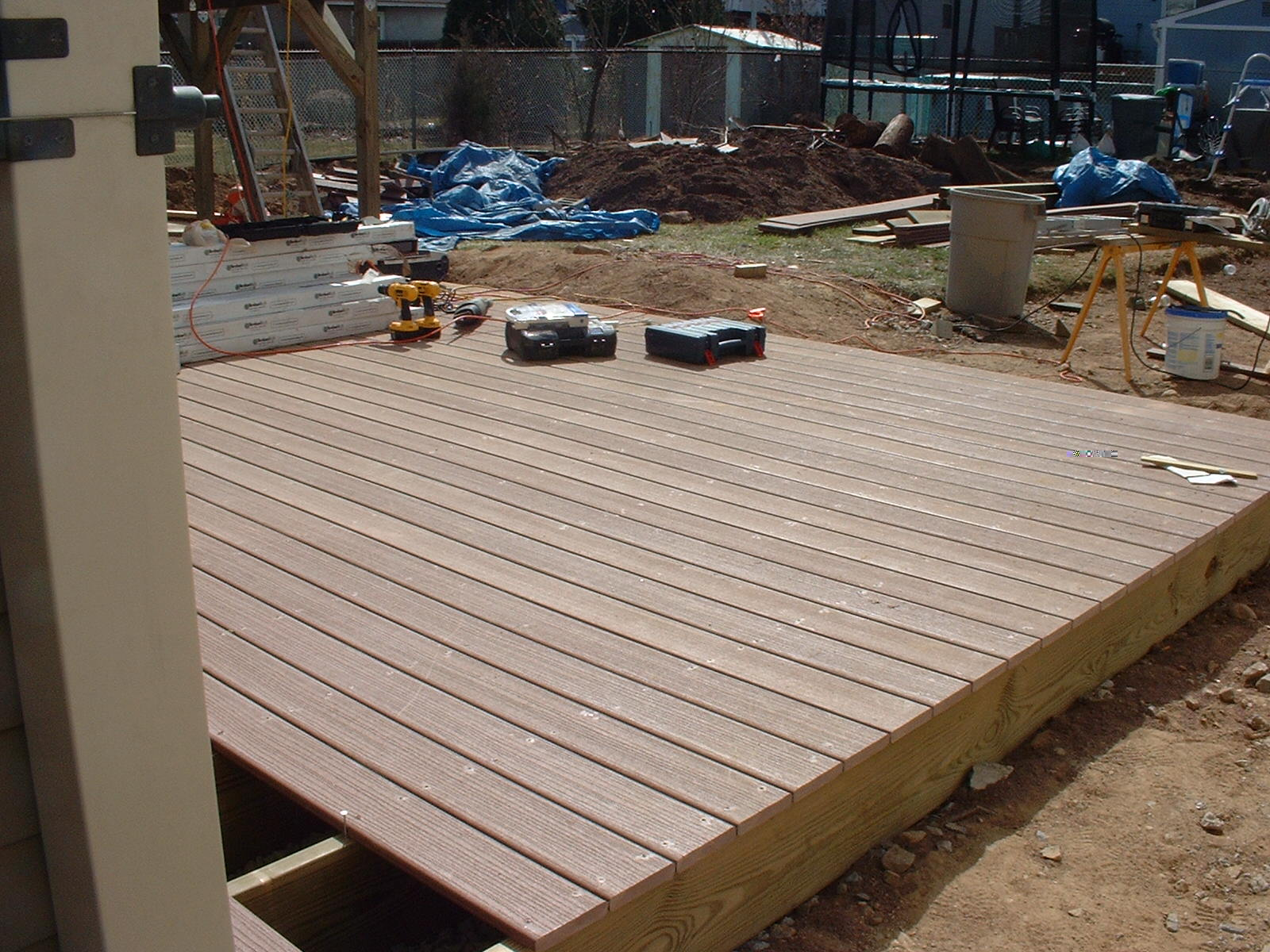 The decking is now cut to size.