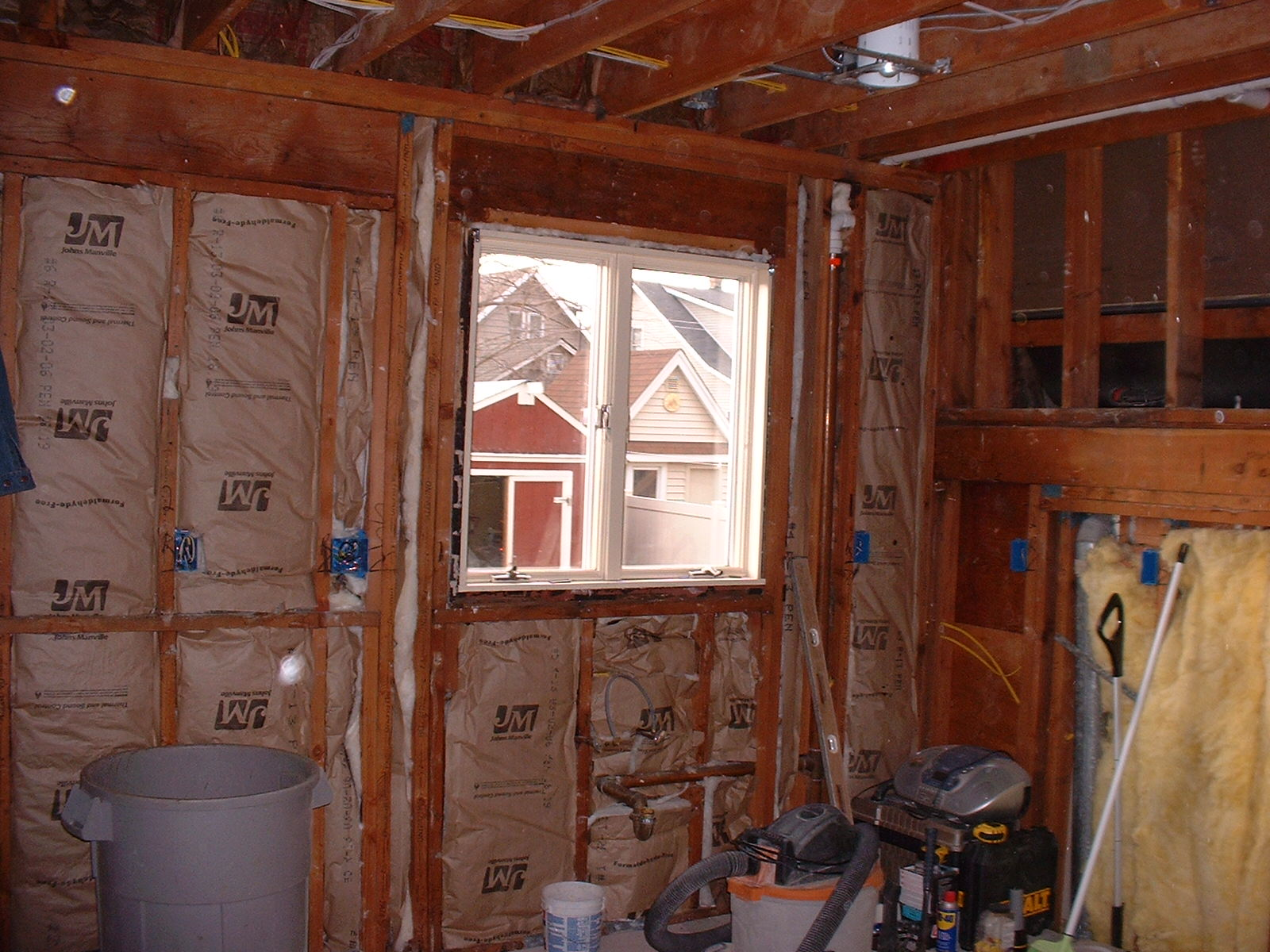 All of the insulation was replaced on the outer walls.
