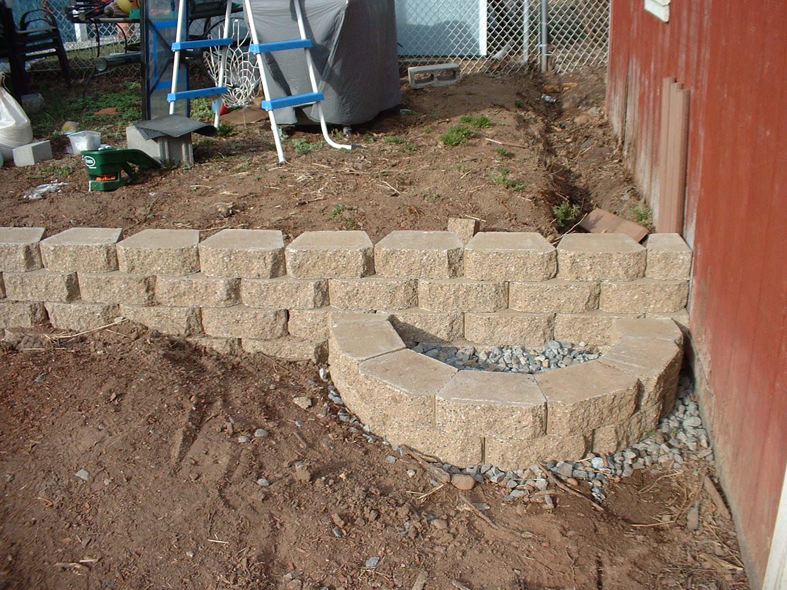 All of the retaining wall block are leveled and secured with an epoxy.