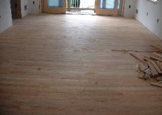 The master bedroom floor is ready for the two coats of varnish.
