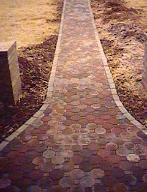 Here is a paver walkway I did in Hillsborough, NJ. The border is cemented in.