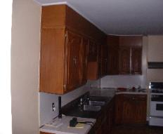 This is what the old kitchen looked like. They were metal cabinets.