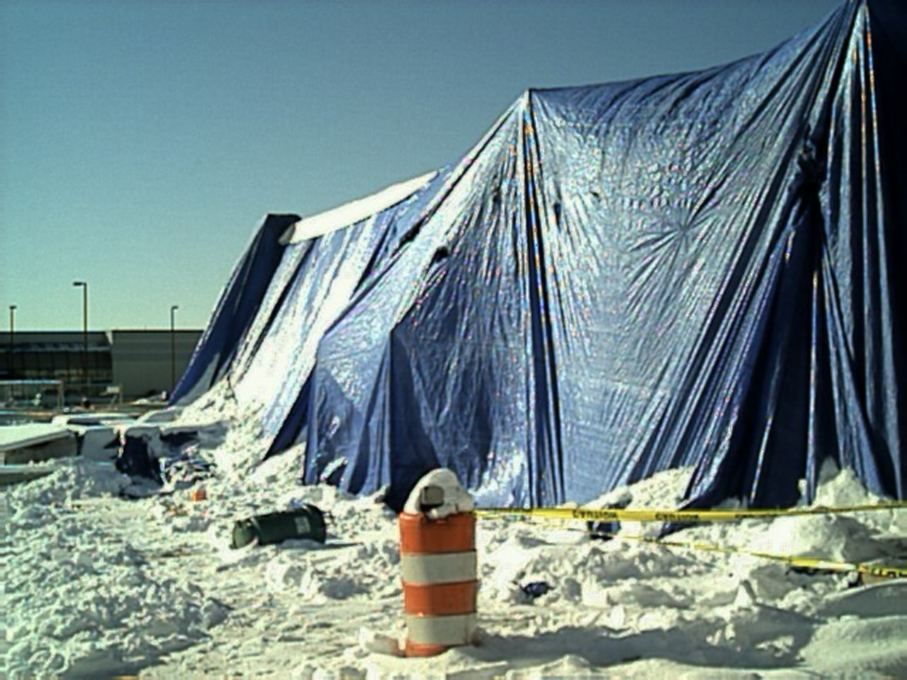 The tarps barely survived. we had to clear off the snow from the tops to relieve the pressure.