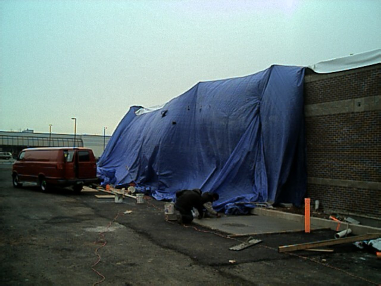 Better view of the right side. We are using three 60' X 40' tarps!!