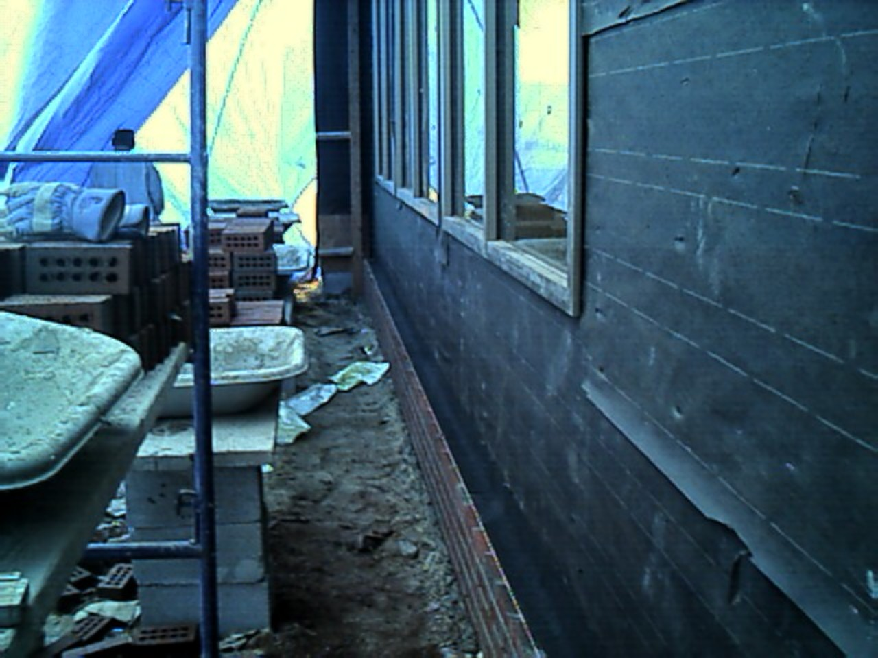 Inside view of the right front area. Brick are being started in this area today.